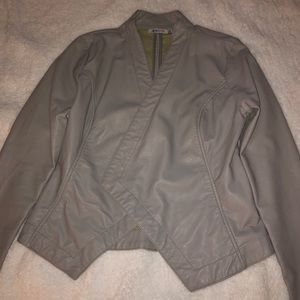 Light gray leather jacket